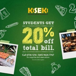 Kiseki Japanese Buffet Restaurant: Student Special Promotion --- 20% OFF