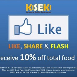 Kiseki Japanese Buffet Restaurant: 10% OFF Total Bills for all facebook fans