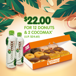 Dunkin' Donuts Singapore: Enjoy 2 bottles of Cocomax with every purchase of 6 donuts at $13.80 (U.P. $15.90), or 12 donuts at $22 (U.P. $24.60).