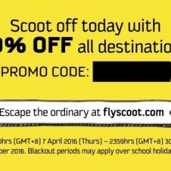 FlyScoot: Promo Code for 20% OFF All Destinations!