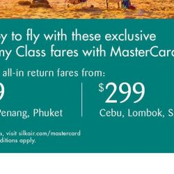 SilkAir: Exclusive GSS Airfare Sale for MasterCard® cardholders