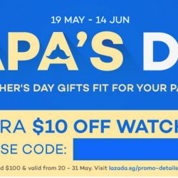 Lazada: Father's Day Gifts + Coupon Code for Extra $10 OFF Watches!