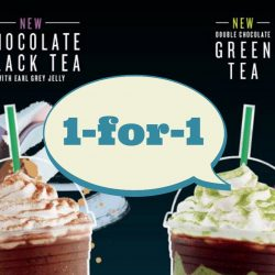 Starbucks: 1-for-1 Venti Chocolate Black Tea or Double Chocolate Green Tea Frappuccino
