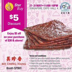Bee Cheng Hiang: $5 OFF $30 Purchase at Singapore Food Expo