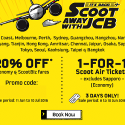 FlyScoot: 1-for-1 Ticket Promotion or 20% OFF with Coupon Code for JCB Cardmembers