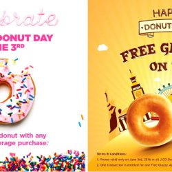 Global Donut Day: Free Donut with purchase at Dunkin' Donut & J.Co Donuts & Coffee