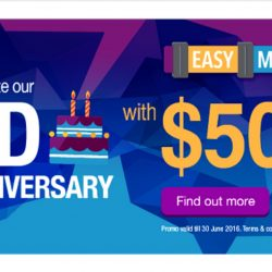 Singtel: Easy Mobile 2nd Anniversary Sale Coupon Code for $50 OFF all phones