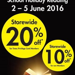 Times Bookstores: 20% off storewide for Times Privilege Card Members & 10% off storewide for non-members