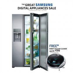 Samsung: purchase a Food Showcase Refrigerator and get a free robot vacuum cleaner worth $799
