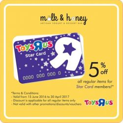 Milk & Honey: 5% OFF Your Bill for Toys'R'Us Star Cardmembers