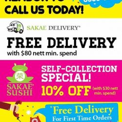 Sakae Sushi: FREE Delivery with $80 nett min. spend or 10% OFF with $30 nett min. spend for Self-Collection