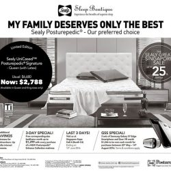 Sealy: Save up to 25% storewide this GSS and enjoy an additional 5% savings on all mattresses for OCBC cardmembers