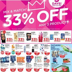 Watsons: Mix & Match across any 3 Products and get 33% OFF