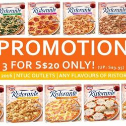 DR OETKER: 3 Ristorante pizzas for $20 at NTUC outlets