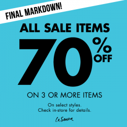 La Senza: Enjoy 70% off when you get 3 or more items