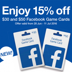Cheers: 15% off for $30 & $50 Facebook game cards
