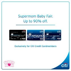 Citibank: Supermom's MASSIVE Online Pre-Event Sale  up to 90% off exclusive brands from Avent to Mothercare