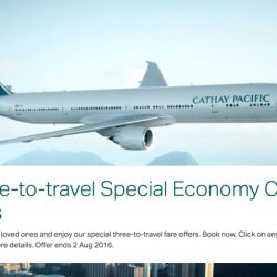 Cathay Pacific: Three-to-Travel Special Economy Fares to Hong Kong, Taipei, Korea, Bangkok & more