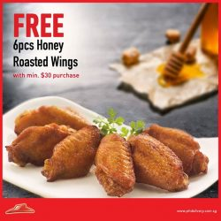 Pizza Hut: FREE 6pcs of honey toasted wings with a min. delivery order of $30