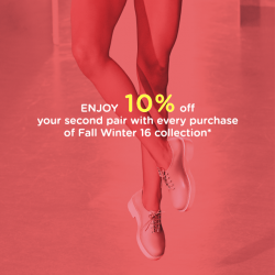 Melissa: Enjoy 10% off your second pair with every purchase of Fall Winter 16 collection