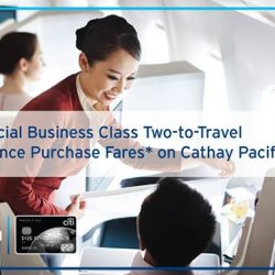 Citibank: Special Cathay Pacific Business Class two-to-travel fareswith the Citi Prestige Card
