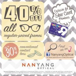 Babies'R'Us: 40% Off all Regular Priced Frames + 10% OFF All contact lens with Star Card at Nanyang Optical