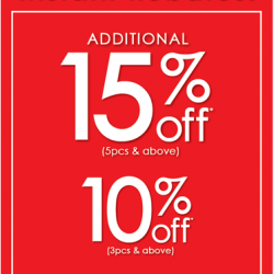 Bossini: Instant Rebates of Up to Additional 15% OFF