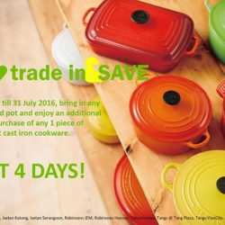 Le Creuset: Trade-in any used or old pot to enjoy an additional 10% off 1 piece cast iron cookware purchase