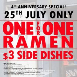 Uma Uma: 4th anniversary Special - 1-for-1 Ramen & $3 Side Dishes