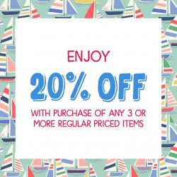Cath Kidston: enjoy 20% off with purchase of any 3 or more regular priced items