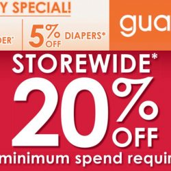 Guardian: 20% OFF Storewide in Stores and Online + 2% OFF Milk Powder + 5% OFF Diapers