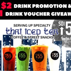 Soi 55: $2 Drink Promotion and $1 Drink Voucher Giveaway at Golden Shoe Outlet