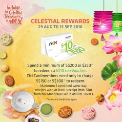 NEX: Redeem a $10 nexVoucher with min. spend at Mooncake Fair