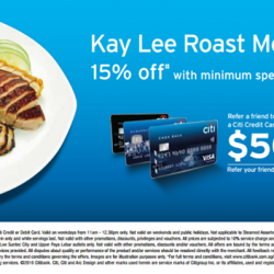 Citibank: 15% OFF with min. spend of $50 at Kay Lee Roast Meat Tanjong Katong
