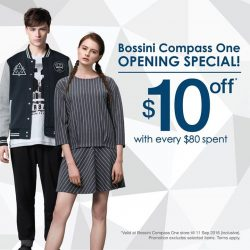 Bossini: Flash FB Post and Enjoy $10 OFF with Every $80 Spent at Compass One