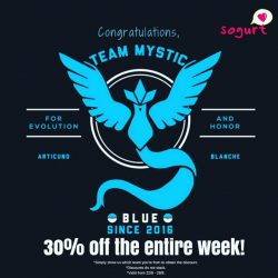 Sogurt: Team Mystic Enjoy 30% OFF & Team Valor Enjoy 15% OFF