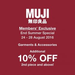 MUJI: 5 days Exclusive End Summer Promotion