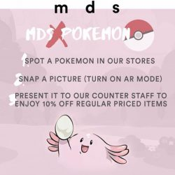 MDSCollections: Present a Pokemon spotted in stores to enjoy 10% OFF regular priced items