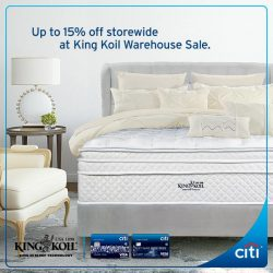 Citibank: Exclusive Preview Sale at King Koil Warehouse Sale on 1 Sept 2016 + Up to 15% discount with min. S$1000 spend