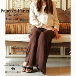 BritishIndia: Buy one Palazzo pants and get the second at 50% off