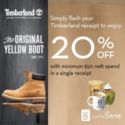 Timberland: Flash Timberland receipt to enjoy 20% off with min. $50 nett spend at Caffebene