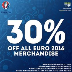 Premier Football: 30% OFF ALL EURO 2016 MERCHANDISE in stores and online