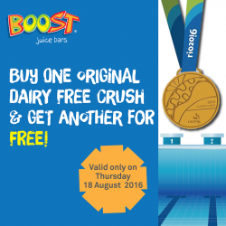 Boost Juice: Buy One Original Dairy Free Crush And Get Another For FREE