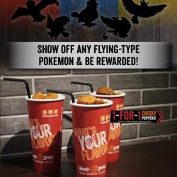 Wing Zone: Catch any species of bird Pokemon and enjoy 1-for-1 Chicky Poppers