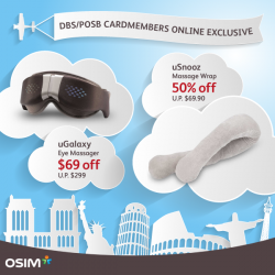 OSIM: DBS/POSB Cardmembers Online Exclusive Discounts on uGalaxy Eye Massager & uSnooz Massage Wrap