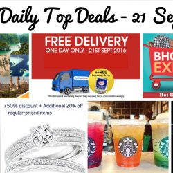 BQ's Daily Top Deals: $50 off iPhone 7 / 7 Plus, Up to 50% OFF + Additional 20% OFF at Taka Jewellery, BHG Expo Sale, Free Delivery + Free Coconut Juice Drink at NTUC FairPrice, Tigerair 12¢ Fare Sale, Free Starbucks Drink at The Cathay & Free 1Pc Chicken with KFC Delivery App