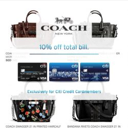 Coach: 10% OFF Total Bill Including Latest Fall Winter Collection with Citi Credit Cards