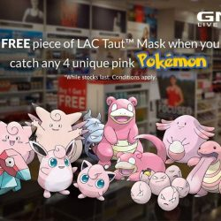 GNC: Present 4 unique pink Pokemon to receive a FREE LAC Taut Collagen Mask + GNC VIP membership