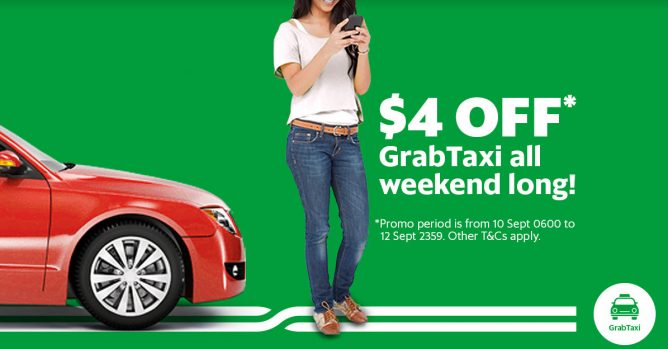Grab: Coupon Code for $4 OFF Your GrabTaxi Ride this Weekend 10 Sep