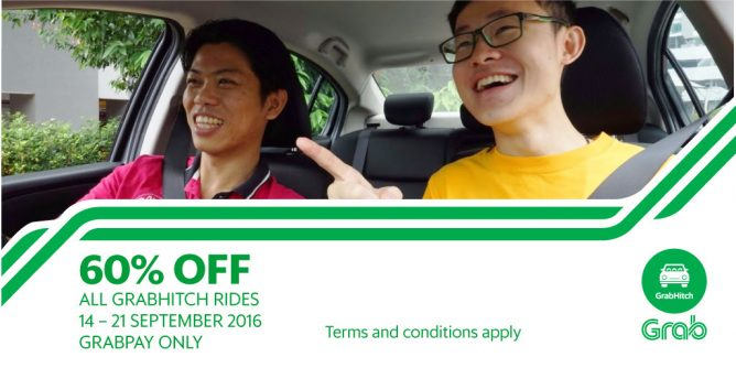 Grab: Coupon Code for 60% OFF All GrabHitch Rides Till 21 Sep 2016